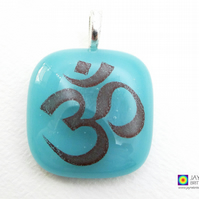 Om symbol pendant, gift for Yoga teachers, turquoise jewellery, fused glass 811
