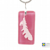 Angel feather pendant, pink fused glass, Archangel Chamuel jewellery (1009)