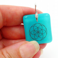 Seed of Life pendant, sterling silver bail, turquoise blue fused glass (1006)