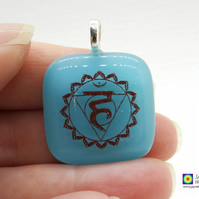 Throat chakra symbol pendant, gift for Yoga teachers, blue jewellery (306)