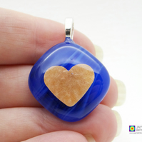 Gold heart pendant in blended deep blue fused glass, symbol of love (905)