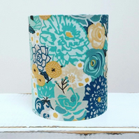 Handmade Little Lantern or night light featuring blue and mustard flowers