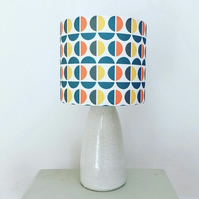 Handmade drum lampshade featuring a Scandi circles design