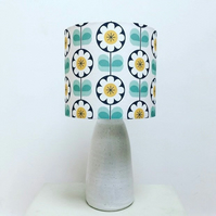 Scandi inspired daisy pattern lampshade in teal, grey and mustard