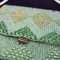 Knitted Beaded handbag, purse. Sparkly green handbag embroidered lining