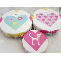 Reduced! Set of 3 bowl & plate covers recycled hearts cat