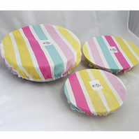 Set of 3 bowl & plate covers recycled from unused bedding striped stripes