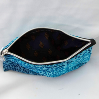 Reduced! Boho blue zipped pouch pencil case purse glasses case