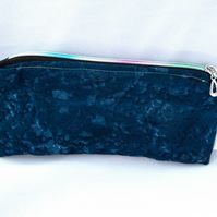 Reduced! Boho navy blue zipped pouch pencil case purse glasses case