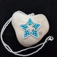 Reduced! Turquoise and white beaded necklace snowflake