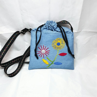 Hand embroidered blue drawstring handbag Convertible shoulder bag to rucksack