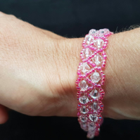 Reduced! Pink bead and crystal bracelet pink sparkly shimmering