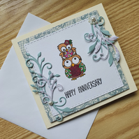 A mini hand stamped anniversary card
