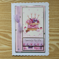 A cake with candles birthday card