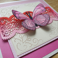 A hand stamped butterfly card
