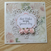 A floral handmade greetings card