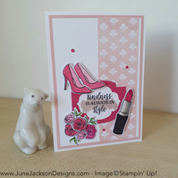 A floral boutique hand stamped greetings card