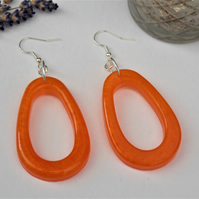 Autumn Orange Earrings Orange Resin Statement Earrings