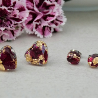 Real Peony Studs Peony and Gold Flake Stud Earrings Real Petals Floral Earrings