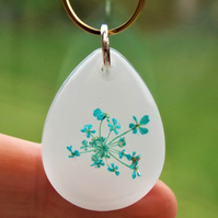 Queen Anne's Lace Necklace Real Flower Resin Pendant Floral Jewellery