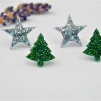 Christmas Tree and Star Stud Pack Christmas Glitter Resin Studs 2 Pairs