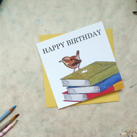 Happy Birthday Wren Blank Greetings Card Free Postage