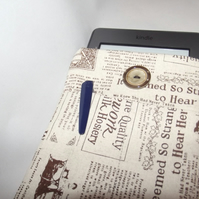Kindle Cover, newspaper print case, reading gift, linnen fabriccarry case,tablet