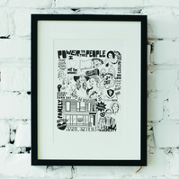 A4 B&W or coloured minimal Personalised Digitally Illustrated Print, Gift
