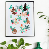 A4 Kindness is Wellness Plant Girl Print