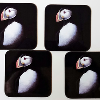 Set of 4 Puffin Coasters.