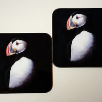 Pair of Puffin Coasters
