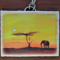 Elephant Sunset mini Wooden Wall Plaque.