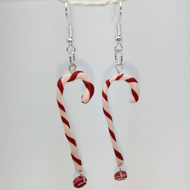 Candy cane earrings handmade Christmas gift