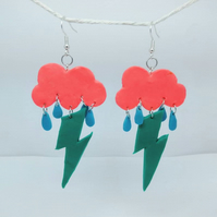 Storm Cloud and lightning handmade polymer clay Earrings