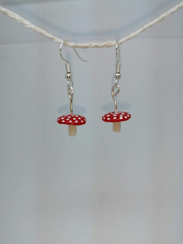 Toadstool miniature handmade earrings