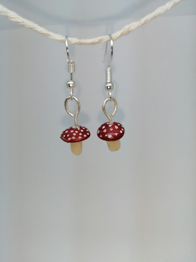 miniature toadstool handmade earrings