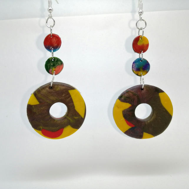 Geometric doughnut handmade earrings