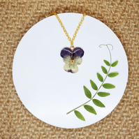 Purple Flower Necklace, Viola Jewellery