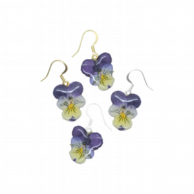 Viola Flower Earrings, Sterling Silver or Gold Plated Wire, Pansy Jewellery
