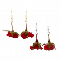 Red Rose Earrings, Sterling Silver or Gold Plated Wire