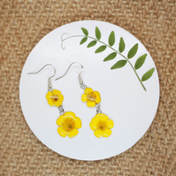 Buttercup Earrings, Sterling Silver or Gold Plated Wire