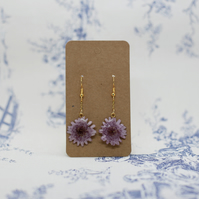 Purple Dangle Earrings, Made with natural flowers, Gold Plated Brass Hooks