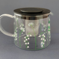 Hand-painted Lily of the Valley Glass Teapot