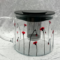 Hand-painted 'Poppy' Glass Teapot
