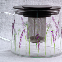 Hand-painted 'Lavender' Glass Teapot