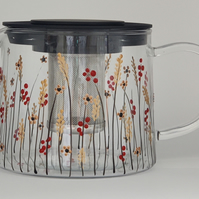 Hand-painted ' Autumn Meadow ' Glass Teapot