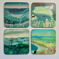 Set of 4 coasters featuring Dogs from original paintings by Caroline Smith