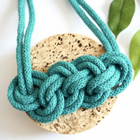 Turquoise rope necklace, woven necklace, fabric necklace