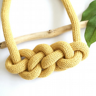 Mustard rope necklace, knot cotton fabric necklace