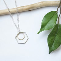 Hexagon mixed metal minimalist necklace, silver gold layering necklace